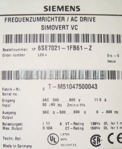 3 Typenschild Simovert Vc 6se7021-1fb61-z