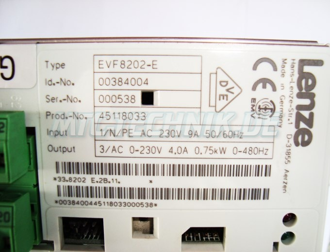 4 Leistungsdaten Evf8202-e Lenze