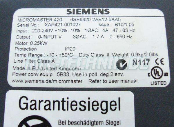 3 Shop 6se6420-2ab12-5aa0 Siemens Typenschild
