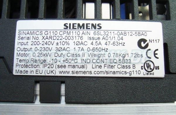 4 Typenschild 6sl3211-0ab12-5ba0 Siemens