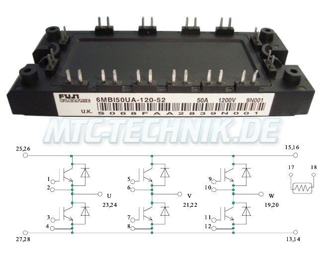 Fuji Transistor Module 6mbi50ua-120-52 Shop U-series