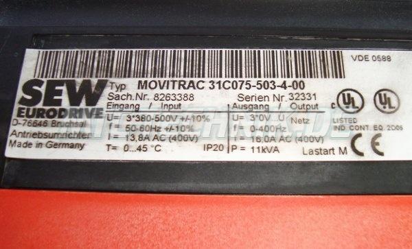 4 Typenschild Sew Eurodrive 31c075-503-4-00 Sach-nr. 8263388