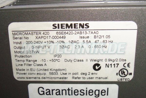 4 Typenschild Micromaster 420 6se6420-2ab13-7aa0