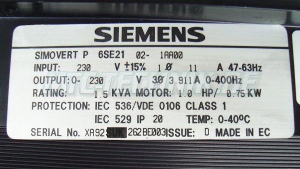 4 Typenschild 6se2102-1aa00 Simovert-p