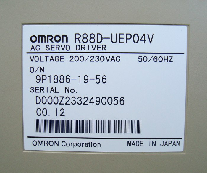 4 Typenschild R88d-uep04v Omron