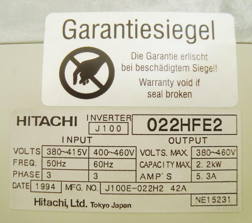 3 Typenschild Hitachi J100-022hfe2